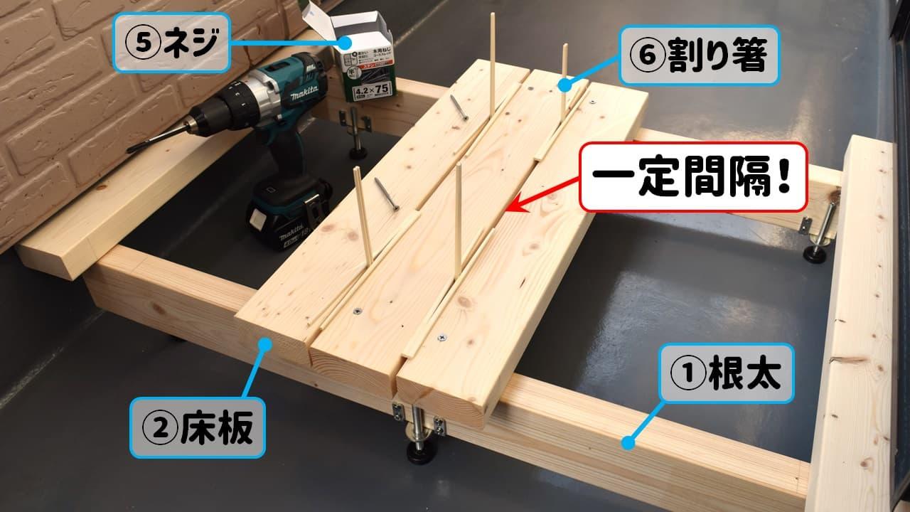 割り箸を使って一定間隔に床板を貼る様子