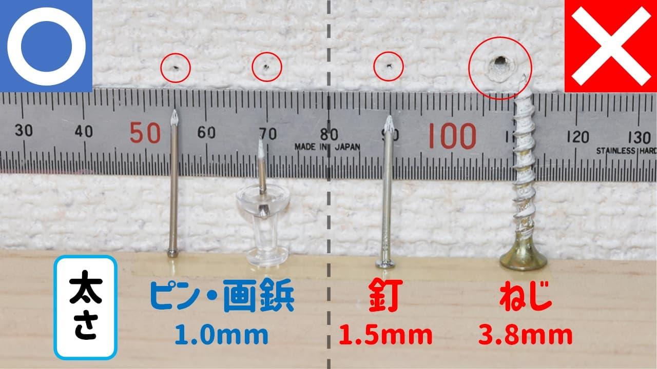 賃貸の壁に空いたピン・画鋲・釘・ねじの穴比較