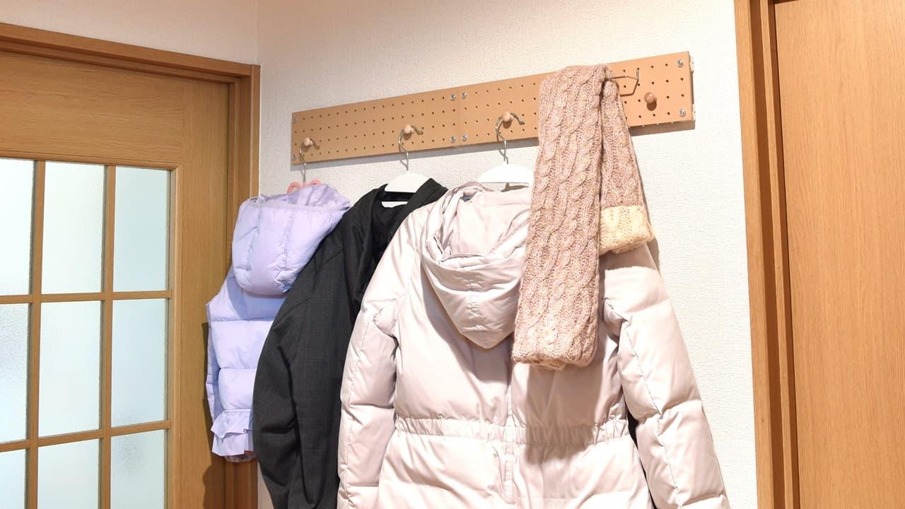 廊下や通路の壁掛け収納(洋服・コート・マフラー)