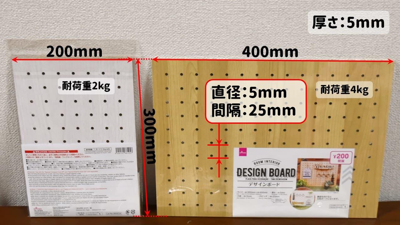 100均ダイソーのデザインボード(有孔ボード)のサイズ・穴ピッチ・耐荷重