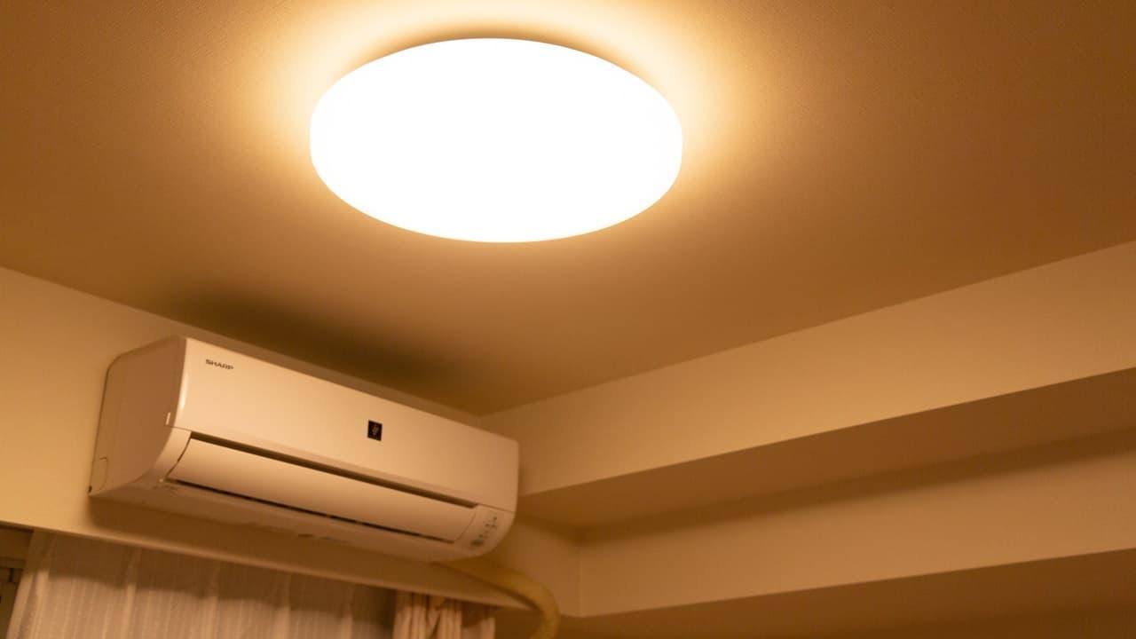 家電をフル活用する夜の部屋の様子
