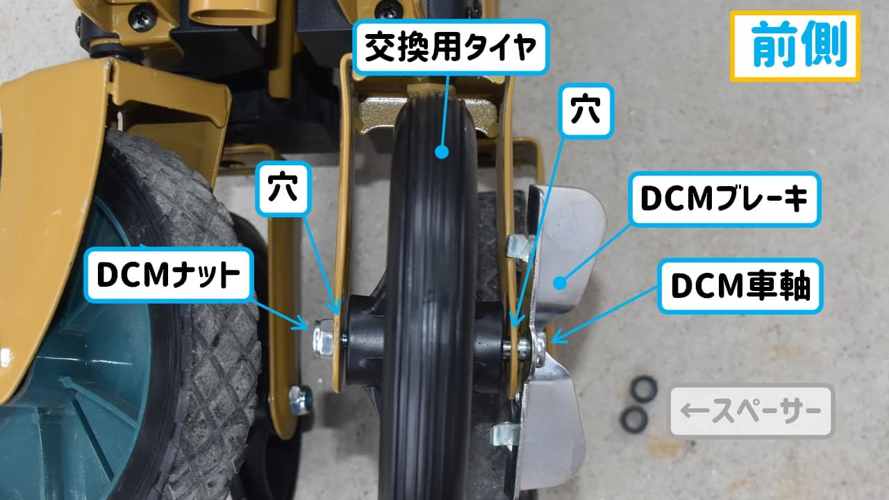 DCMキャリーワゴンの前輪部に交換用タイヤを取り付けた様子