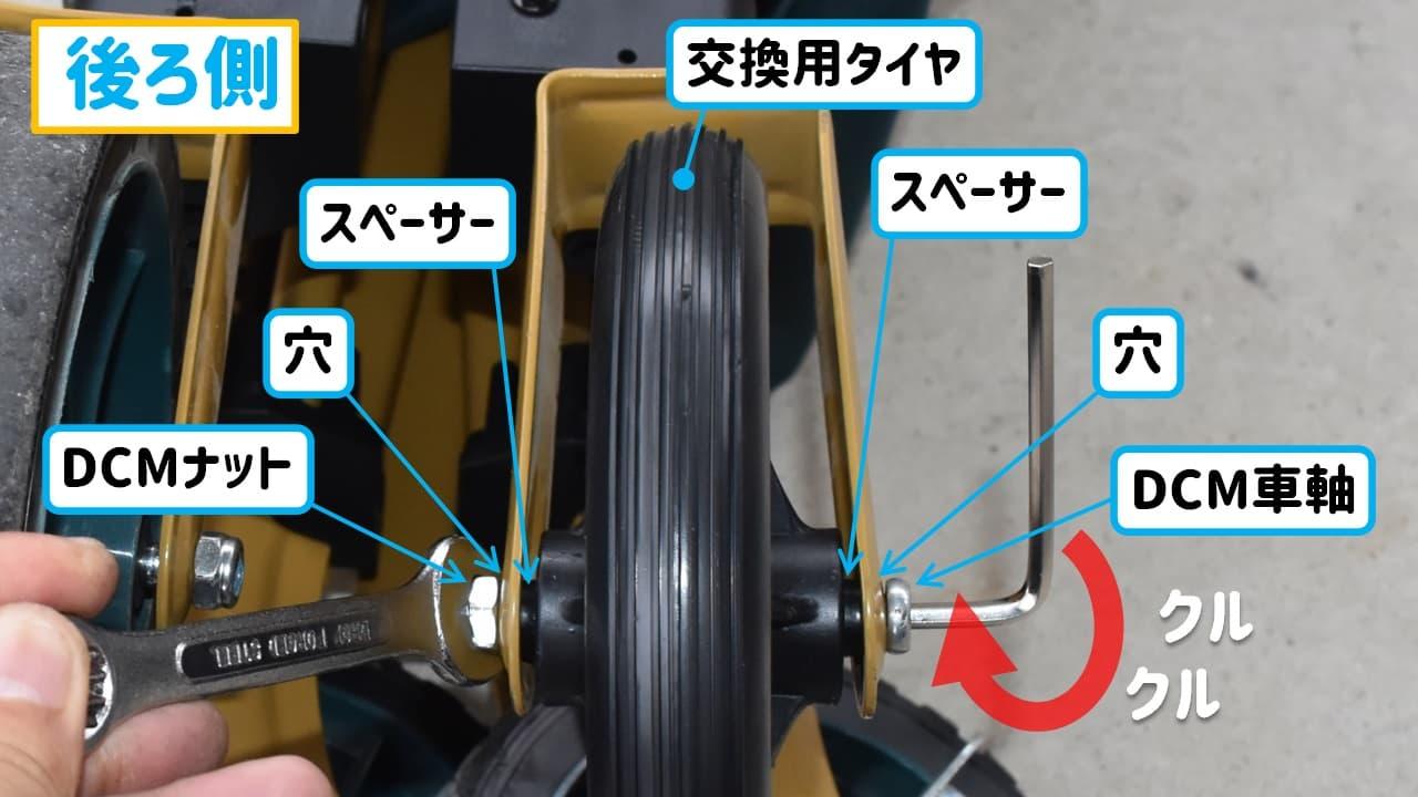 dcmキャリーワゴン後輪部に交換用タイヤを取り付けた様子