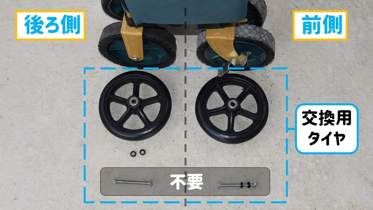 dcmキャリーワゴンの破れたタイヤを修理する交換用タイヤセット